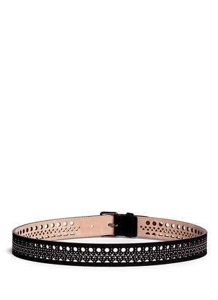 Back View - Click To Enlarge - Alaïa - 'Mini Vienne' stud lasercut suede belt