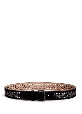 Main View - Click To Enlarge - Alaïa - 'Mini Vienne' stud lasercut suede belt