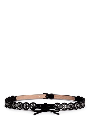 Main View - Click To Enlarge - Alaïa - 'Petale' strass lasercut suede belt