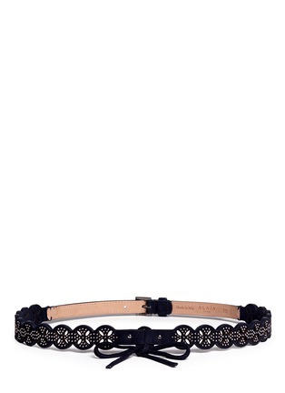Main View - Click To Enlarge - Alaïa - 'Petale' stud lasercut suede belt