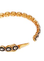 Mounted diamond gold alloy tennis bracelet