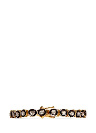 Back View - Click To Enlarge - Aishwarya - Mounted diamond gold alloy tennis bracelet