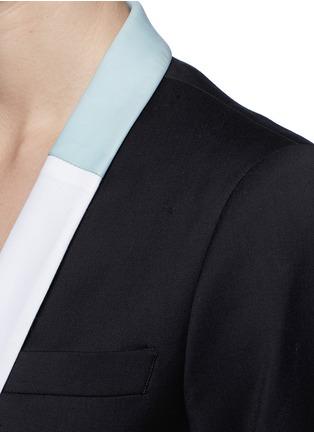 Detail View - Click To Enlarge - EACH X OTHER - Bi-colour lapel long tuxedo wool jacket