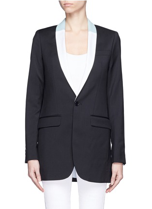 Main View - Click To Enlarge - EACH X OTHER - Bi-colour lapel long tuxedo wool jacket