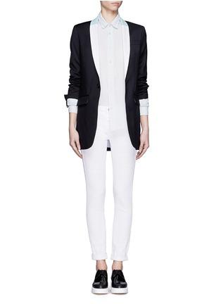 Figure View - Click To Enlarge - EACH X OTHER - Bi-colour lapel long tuxedo wool jacket