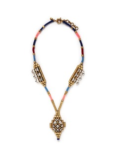 J. CREWCrystal embellish mélange thread art deco necklace