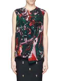 MSGM Abstract swirl silk top