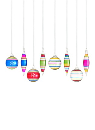 Main View - Click To Enlarge - Kurt S Adler - Striped Ball and Finial Christmas ornament Set