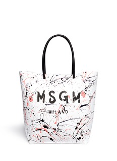 MSGM Splatter paint leather tote