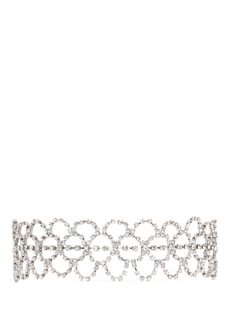 kenneth jay lane female glass crystal lace collar necklace
