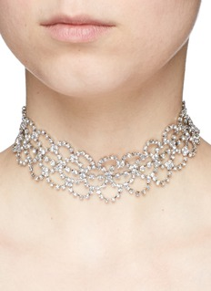 Kenneth Jay Lane Glass crystal lace collar necklace