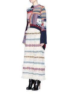 Alexander McQueen Dip hem wool-cashmere patchwork sweater