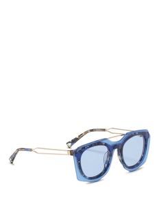 HazeCast' mounted angular tortoiseshell metal sunglasses