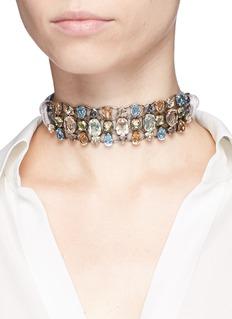 Lanvin'Ginger' glass crystal metal fretwork velvet ribbon choker
