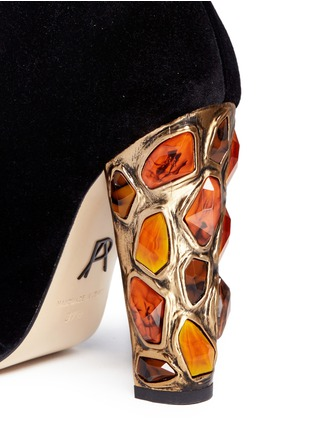 Detail View - Click To Enlarge - Paul Andrew - 'Nehir Jewel' jewelled heel velvet ankle boots