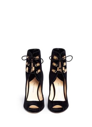 Front View - Click To Enlarge - Paul Andrew - 'Nehir Jewel' jewelled heel velvet ankle boots