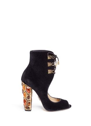 Main View - Click To Enlarge - Paul Andrew - 'Nehir Jewel' jewelled heel velvet ankle boots
