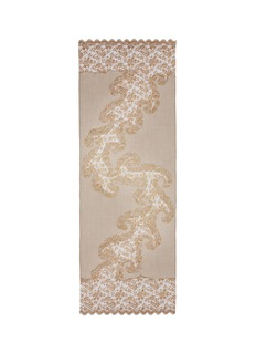 Janavi Floral embroidered lace trim cashmere scarf