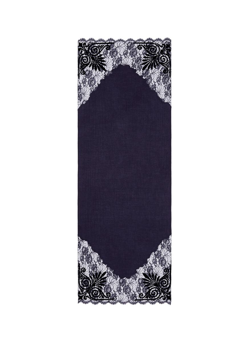 Velvet floral lace trim cashmere scarf by Janavi