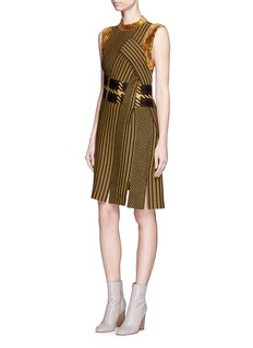 3.1 Phillip Lim Carwash hem velour trim jacquard dress