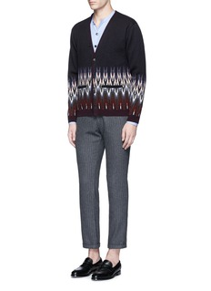 CamoshitaTribal intarsia knit wool-cashmere cardigan