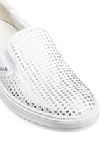 'Grove' metallic houndstooth leather skate slip-ons