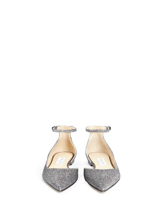 Front View - Click To Enlarge - Jimmy Choo - 'Lucy' glitter lamé d'Orsay flats