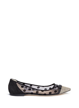 Main View - Click To Enlarge - Jimmy Choo - 'Dorothy' glitter lamé polka dot mesh flats