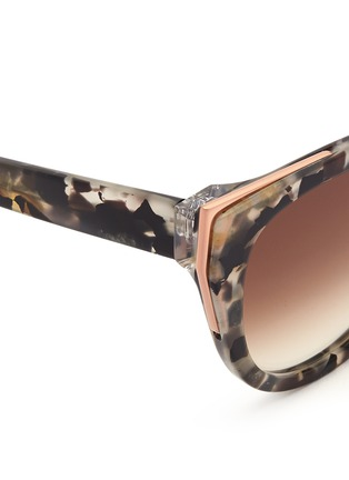 Detail View - Click To Enlarge - Thierry Lasry - 'Epiphany' metal rim tortoiseshell acetate cat eye sunglasses