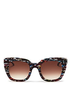 THIERRY LASRY'Swingy' pearlescent stripe contrast acetate sunglasses