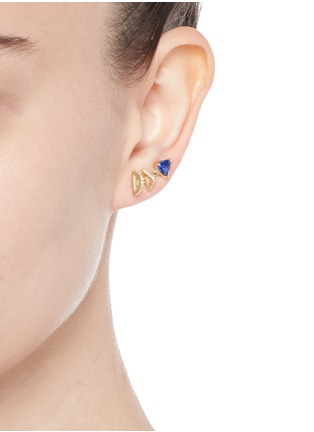 Figure View - Click To Enlarge - Phyne By Paige Novick - 'Marta' 18K gold diamond pavé tanzanite single climber earring