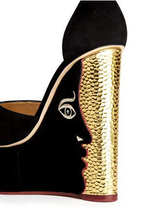 Detail View - Click To Enlarge - Charlotte Olympia - 'Two-Faced' suede peep toe wedge sandals