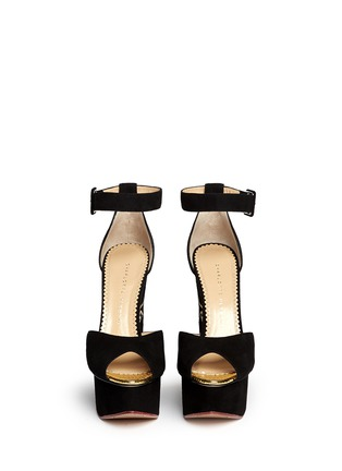 Figure View - Click To Enlarge - Charlotte Olympia - 'Two-Faced' suede peep toe wedge sandals