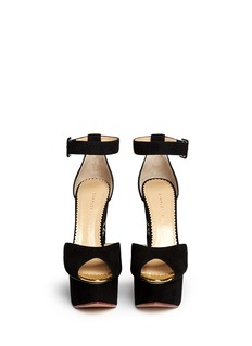 CHARLOTTE OLYMPIA'Two-Faced' suede peep toe wedge sandals