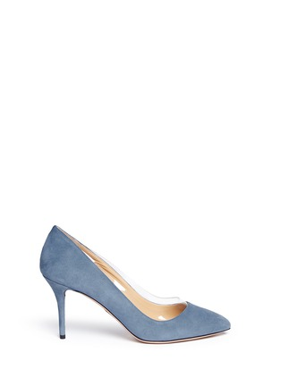 Main View - Click To Enlarge - Charlotte Olympia - 'Party Shoes 85' PVC trim suede pumps