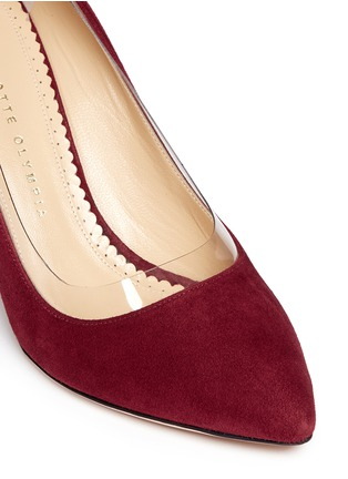 Detail View - Click To Enlarge - Charlotte Olympia - 'Party Shoes 85' PVC trim suede pumps