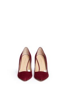 CHARLOTTE OLYMPIA'Party Shoes 85' PVC trim suede pumps