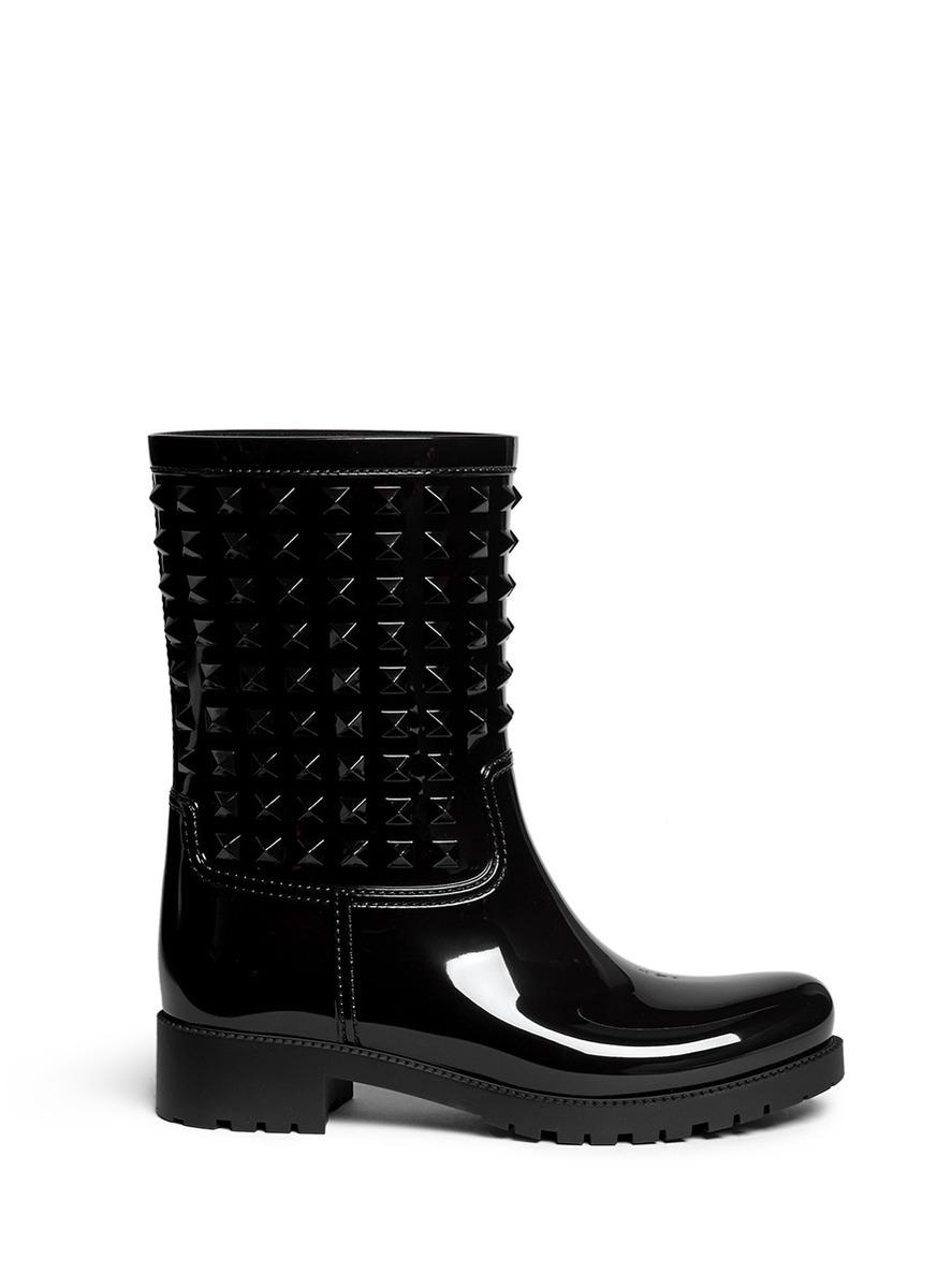 Rockstud PVC rainboots by Valentino