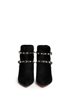 VALENTINO 'Rockstud' leather strap suede ankle boots