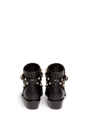 Back View - Click To Enlarge - Valentino - 'Rockstud' strap leather ankle boots