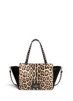 'Rockstud' small leopard print calf hair tote