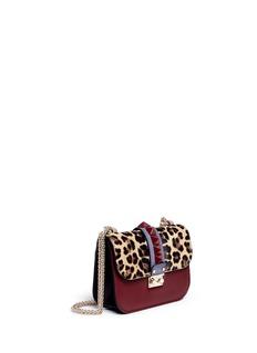 VALENTINO'Rockstud Lock' small leopard print calf hair chain bag