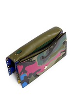 Camouflage print leather canvas flap clutch