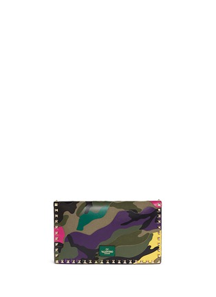 Back View - Click To Enlarge - Valentino - Camouflage print leather canvas flap clutch