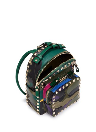 Detail View - Click To Enlarge - Valentino - 'Rockstud' mini camouflage leather patch canvas backpack