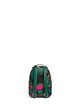 Back View - Click To Enlarge - Valentino - 'Rockstud' mini camouflage leather patch canvas backpack