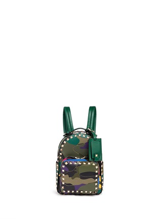 Main View - Click To Enlarge - Valentino - 'Rockstud' mini camouflage leather patch canvas backpack