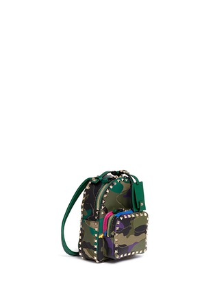 Figure View - Click To Enlarge - Valentino - 'Rockstud' mini camouflage leather patch canvas backpack