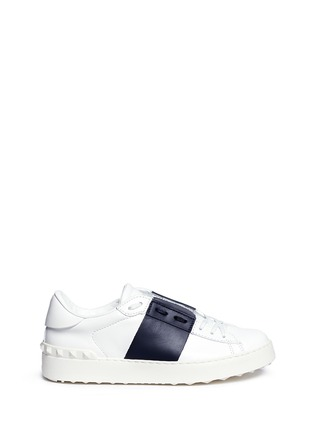 Main View - Click To Enlarge - Valentino - 'Rockstud' contrast panel leather sneakers