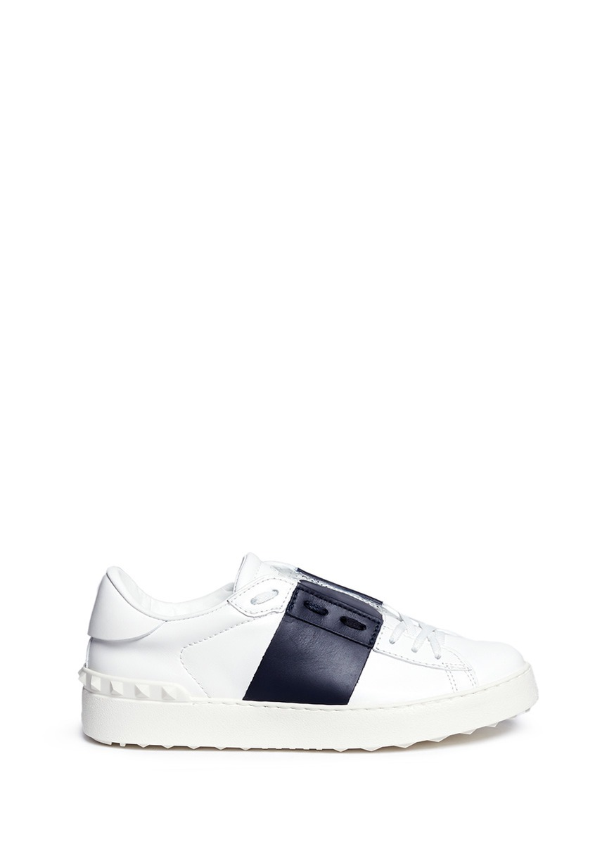 Rockstud contrast panel leather sneakers by Valentino